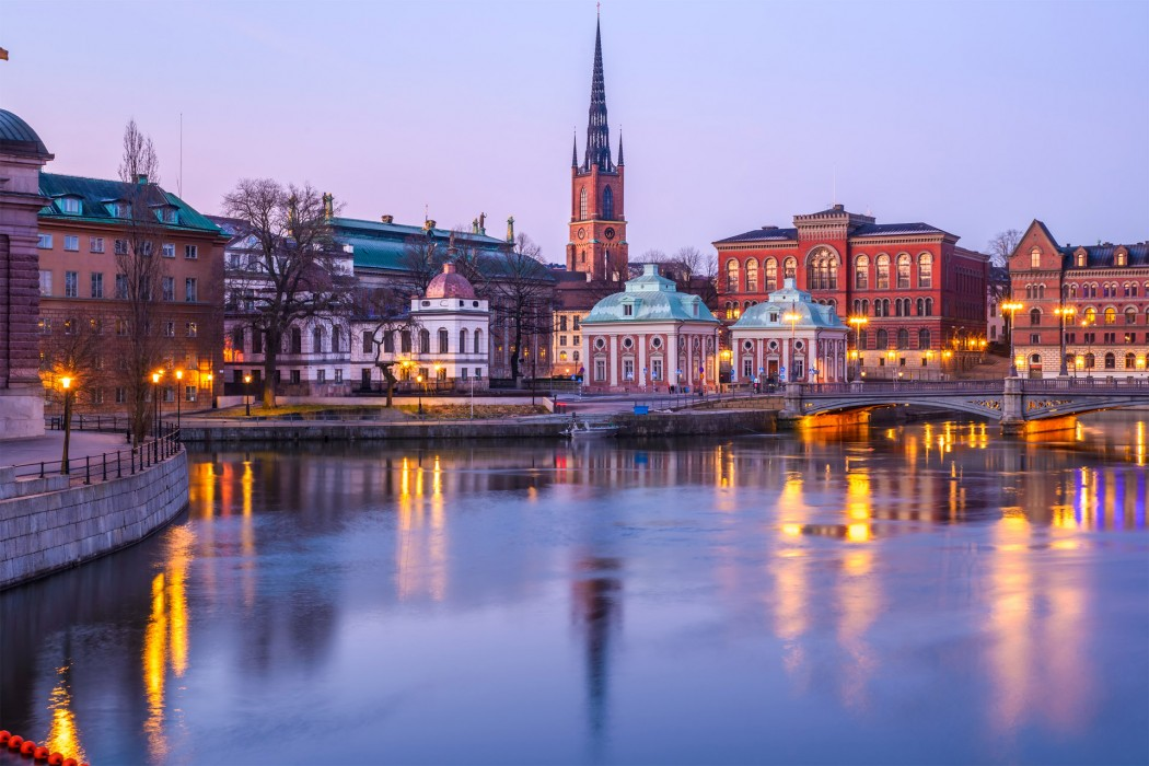 Old buildings and architecture in Stockholm, Sweden at dawn