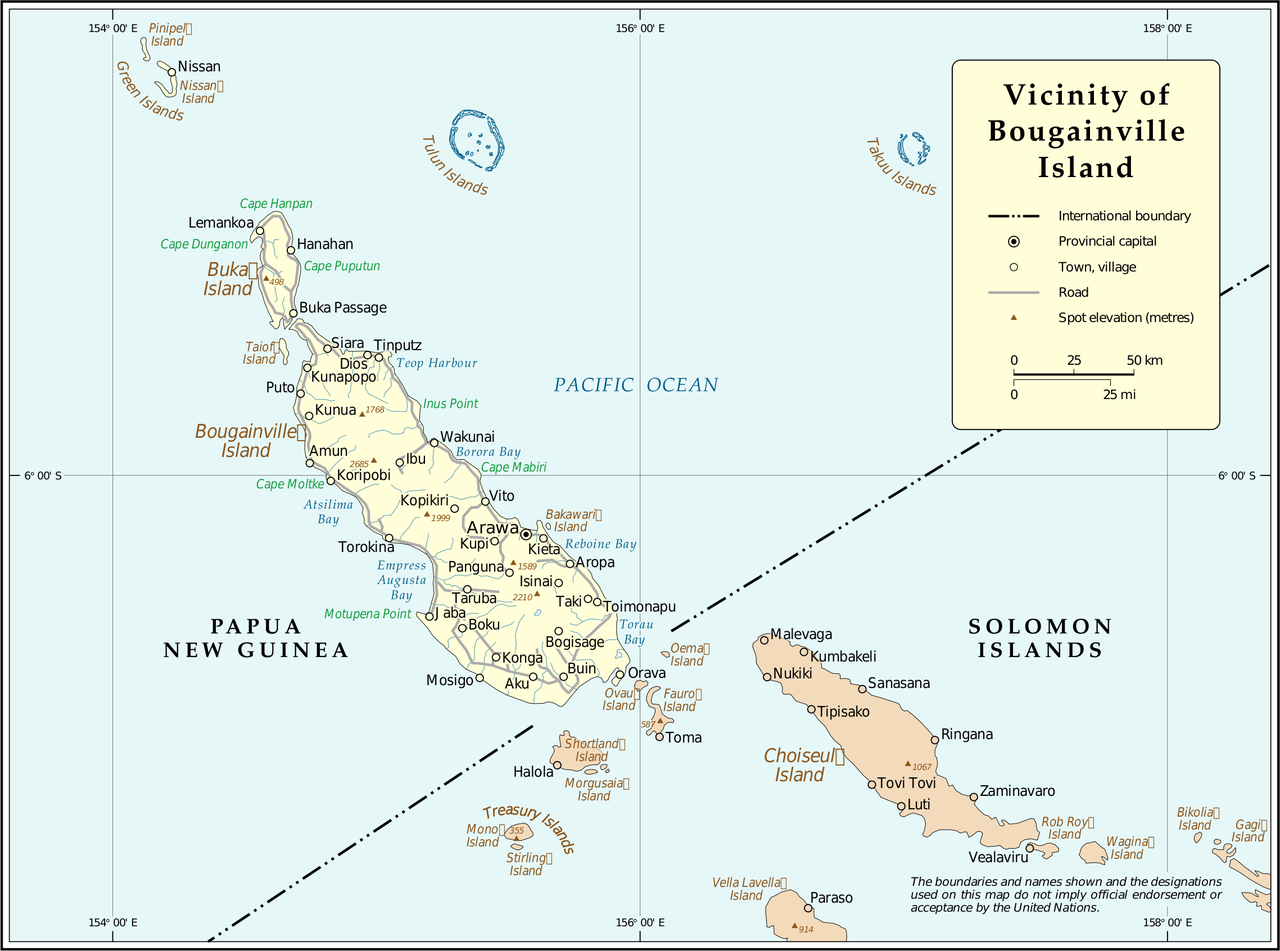 Aside from Bougainville and Buka Island, the autonomous region also contains the Green, Tulun, and Takuu Islands. source: https://en.wikipedia.org/wiki/Autonomous_Region_of_Bougainville#/media/File:Un-bougainville.png