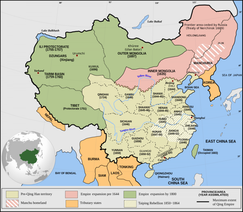 "The Chinese Empire (Qing Dynasty, 1644-1911), absorbed neighbours or made them ""tributary states"""