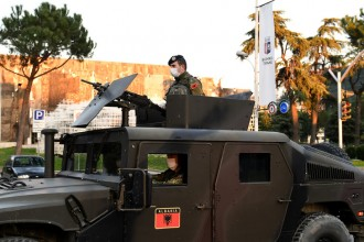 An Albanian military tank patrols the streets of Tirana in order to assure the respect of the lockdown decided to combat the coronavirus outbreak