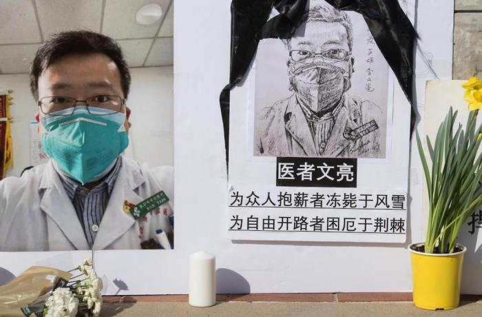 One of the several mourning posters dedicated to Doctor Li Wenliang
